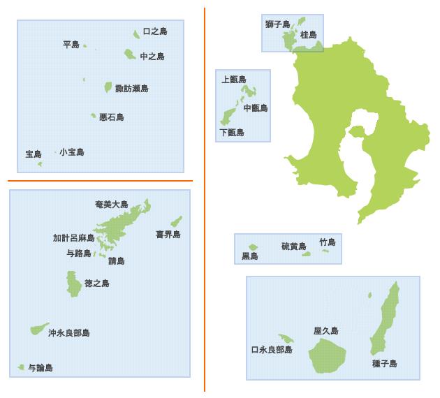 地図で探すかごしまの島々